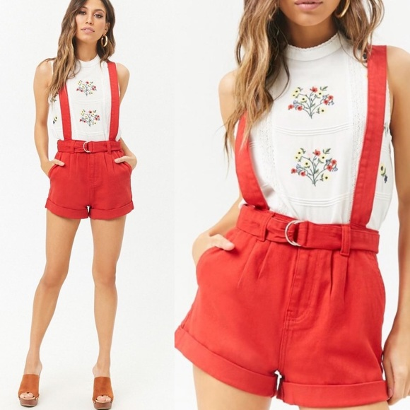29130cdcff Forever 21 Shorts   Red High Wasted Denim Overall Size M   Poshmark